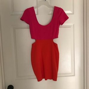 Hot pink/orange scoop-neck dress by Lucca Couture